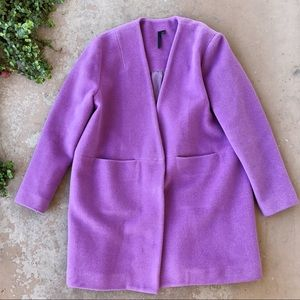 Topshop Boutique Purple Wool Box Pea Coat